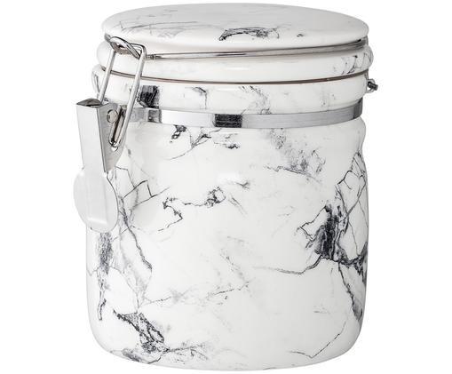 Aufbewahrungsdose White Marble, Behälter: Porzellan, Verschluss: Edelstahl, Silikon, Weiß, Schwarz, marmoriert, Ø 10 x H 12 cm