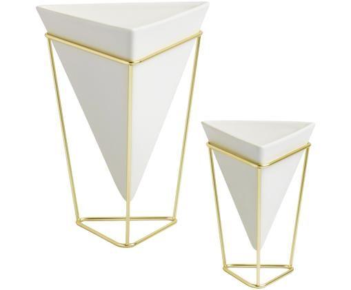 Set 2 vasi Trigg Desk, Portavasi: metallo ottonato, Vasi: bianco Portavasi: ottone, Larg. 16 x Alt. 20 cm