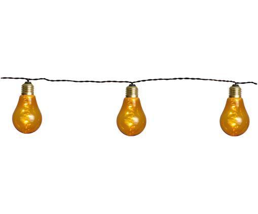 Guirnalda de luces LED Bulb, 360cm, Cable: plástico, Bombillas: ámbar, dorado Cable: negro, L 360 cm