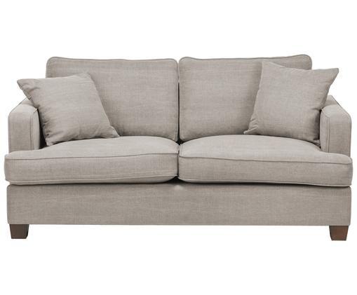 Sofa Warren (2-osobowa), Stelaż: drewno naturalne, Tapicerka: 60%bawełna, 40%len Tkan, Nogi: czarne drewno, Piaskowoszary, S 178 x W 85 cm