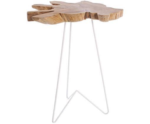 Tavolino Savanna, Piano d'appoggio: teak Gambe: bianco
