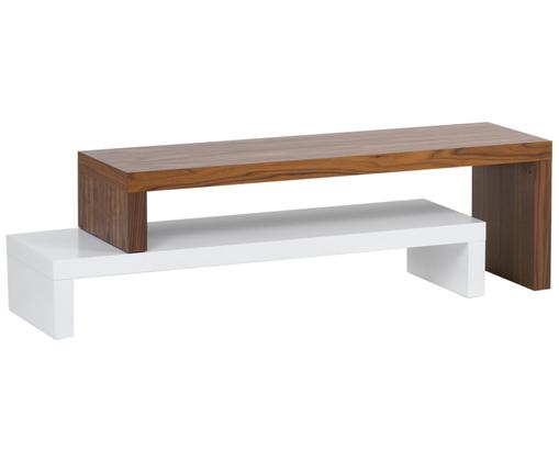 Tv-meubel Cliff, Frame: houtvezelplaat, spaanplaa, Wit, bruin, 125 x 40 cm