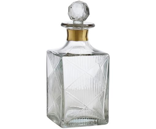 Decanter Diamond, Vetro, Trasparente Bordo: dorato, Alt 19 cm