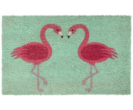 Wycieraczka Flamingos, Turkusowy, różowy