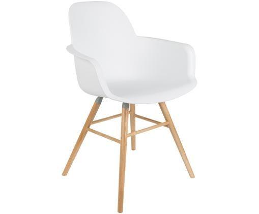 Chaise à accoudoirs Albert Kuip, Assise: blanc Pieds: bois de frêne