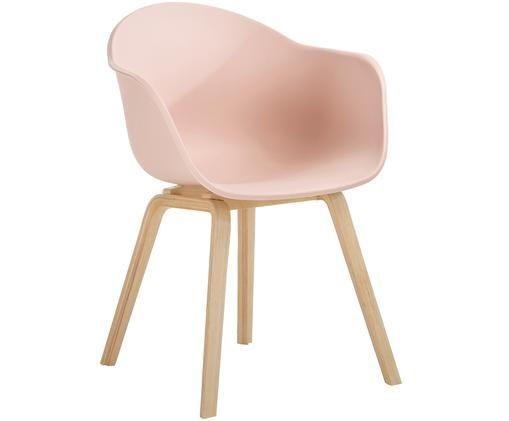 Sedia con braccioli con gambe in legno Claire, Seduta: materiale sintetico, Gambe: legno di faggio, Seduta: rosa Gambe: legno di faggio, Larg. 61 x Prof. 58 cm