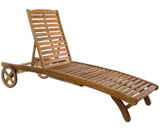 Leżak ogrodowy Noemi, Drewno akacjowe, masywne, olejowane, Drewno akacjowe, olejowane, 195 x 66 cm
