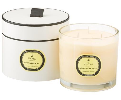 Bougie parfumée à trois mèches Aromatherapy (pamplemousse et jasmin), Transparent, blanc, jaune