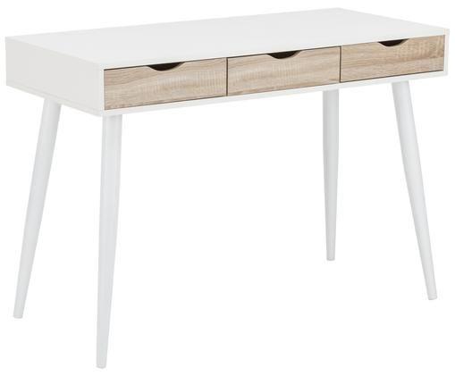 Scrivania Neptun, Piano d'appoggio e piedini: bianco Cassetti: legno di quercia