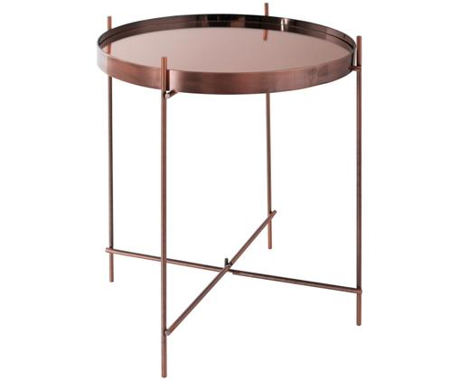 Tablett-Tisch Cupid mit Glasplatte, Gestell: Metall, verkupfert, Tischplatte: Glas, Kupfer, Ø 43 x H 45 cm