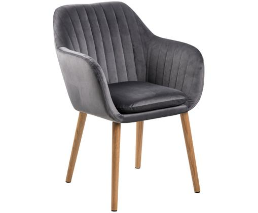 Krzesło z podłokietnikami z aksamitu Emilia, Tapicerka: poliester (aksamit), Nogi: drewno dębowe, olejowane , Tapicerka: ciemnyszary Nogi: drewno dębowe, S 57 x G 59 cm