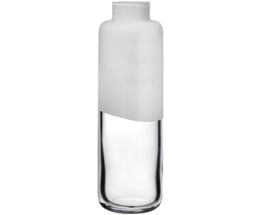 Handgefertigte Glas-Vase Magnolia, Glas, Obererteil: Weiß<br>Untererteil: Transparent, Ø 9 x H 28 cm