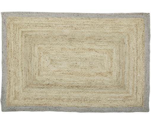 Handgefertigter Jute-Teppich Shanta, Flor: Jute, Beige, Grau, B 160 x L 230 cm (Größe M)