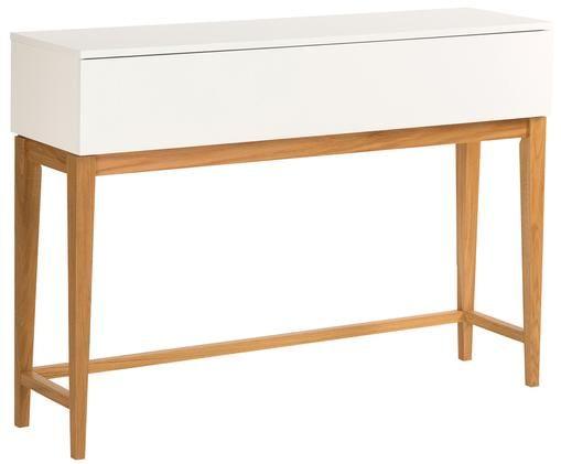 Consolle con cassetto Blanco, Gambe: legno di quercia, Bianco, marrone, Larg. 120 x Prof. 32 cm