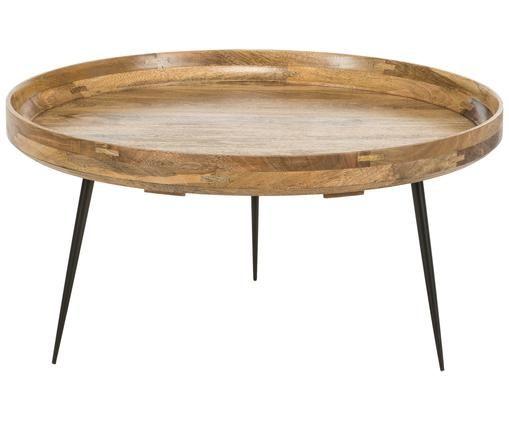 Salontafel Bowl Table, Tafelblad: gebeitst mangohout, Poten: gepoedercoat staal, Bruin, Ø 75 x H 38 cm