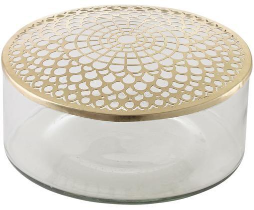 Vase en verre avec couvercle Kassandra, Vase: transparent Couvercle: laiton
