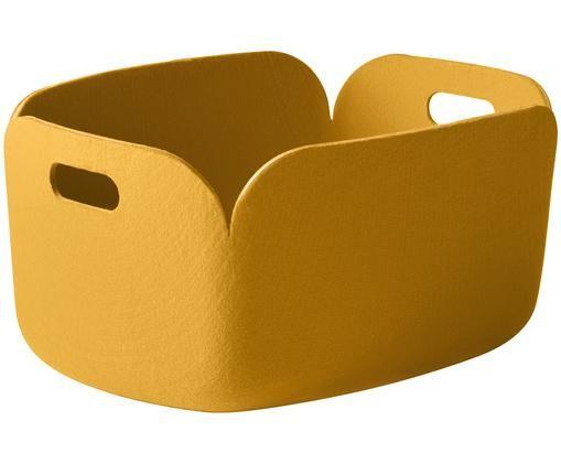 Aufbewahrungskorb Restore, Synthetischer Filz aus recycelten PET Flaschen, Gelb, 48 x 23 cm