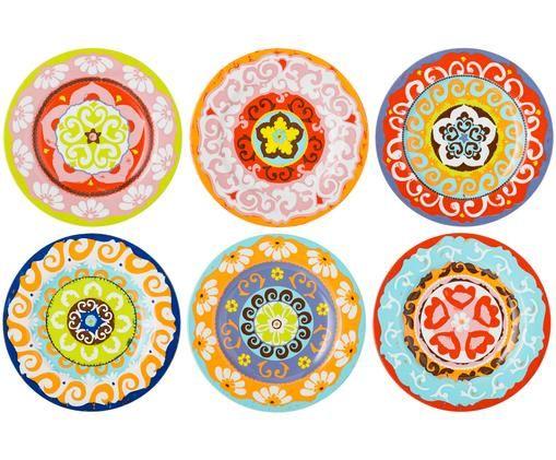 Ensemble d'assiettes à dessert Nador, 6élém., Multicolore