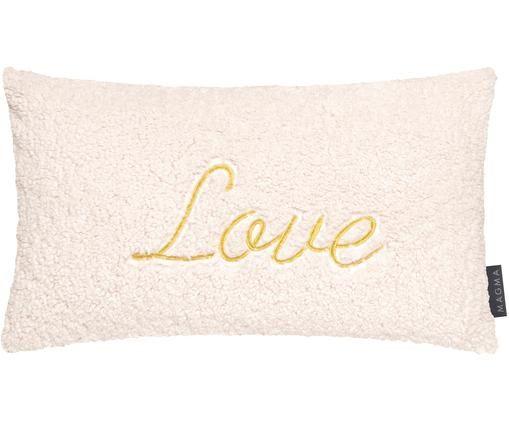 Flauschige Kissenhülle Bina mit goldener Aufschrift