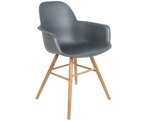 Armlehnstuhl Albert Kuip, Sitzfläche: 100% Polypropylen, Füße: Eschenholz, Sitzfläche: Grau<br>Füße: Eschenholz, 59 x 82 cm