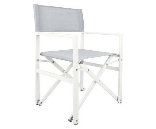 Krzesło reżysera Cali, Stelaż: aluminium malowane proszk, Stelaż: biały Stelaż: szary, S 55 x W 85 cm