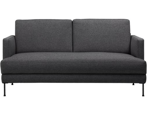 Sofa Fluente (3-osobowa), Tapicerka: poliester 45000 cykli w , Stelaż: drewno naturalne, Nogi: metal lakierowany, Tapicerka: ciemnyszary Nogi: czarny, S 168 x W 85 cm