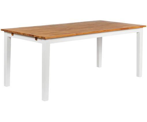 Verlängerbarer Massivholz Esstisch Linus, Beine: Weiß Tisch- und Ausziehplatten: Eiche