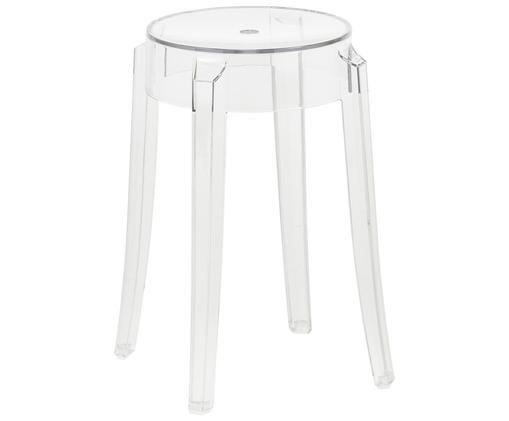 Stołek/stolik pomocniczy Charles Ghost, Poliwęglan, Transparentny, Ø 39 x W 46 cm