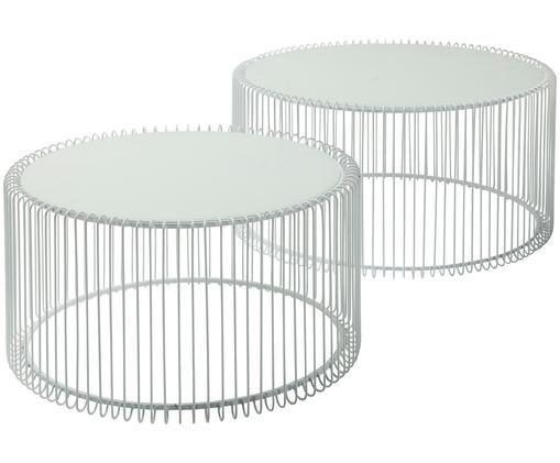 Metall-Couchtisch 2er-Set Wire mit Glasplatte, Gestell: Stahl, pulverbeschichtet, Tischplatte: Sicherheitsglas, Weiß, Sondergrößen