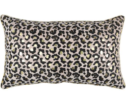Kissen Jangal mit Leopardenmuster und goldenen Details, mit Inlett