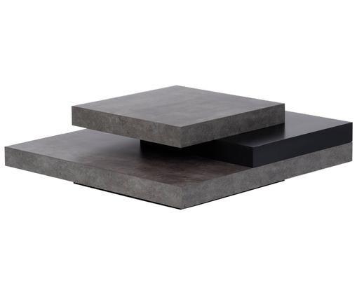 Mesa de centro Mara, Superficie: capa de melanina, Gris cemento, negro, An 90 x Al 30 cm