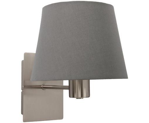 Applique en métal chromé Astoria, Structure: chrome. Abat-jour: gris