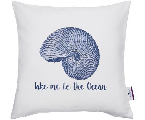 Federa arredo Seashell, Cotone, Bianco, blu, Larg. 40 x Lung. 40 cm