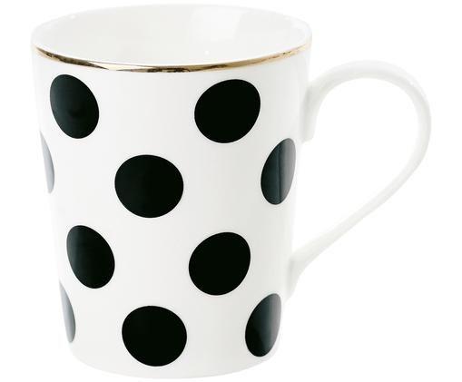 Tasse Dots, Keramik, Schwarz, Weiß, Goldfarben, Ø 8 x H 10 cm