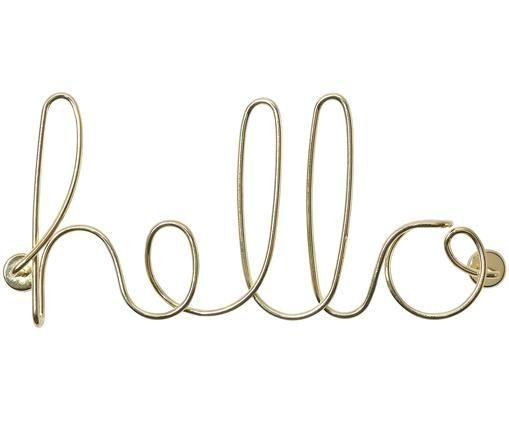 Wandobjekt Hello, Metall, vermessingt, Messing, 33 x 15 cm