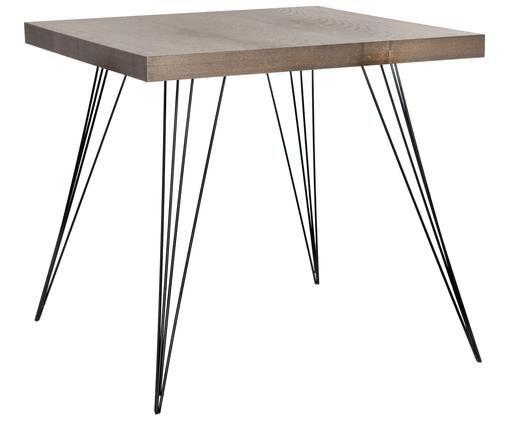 Piccolo tavolo da pranzo quadrato Wolcott, Piedini: ferro verniciato, Marrone scuro, nero, Larg. 80 x Prof. 80 cm