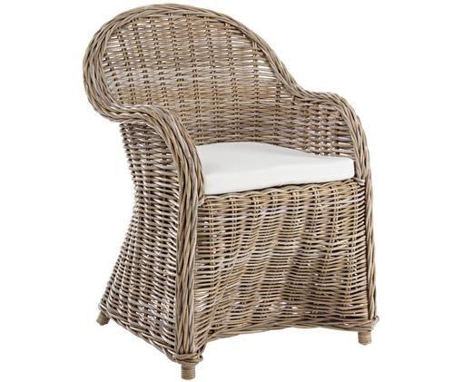 Krzesło z rattanu Martin, Splot: rattan<br>Poduszka: biały, 60 x 89 cm