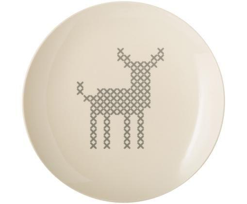 Piatto da colazione Cross, Ceramica, Bianco spezzato, grigio, Ø 20 cm