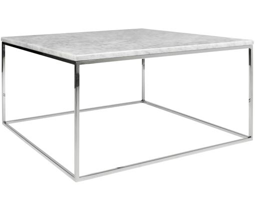 Table basse en marbre Gleam, Plateau : blanc, marbré Structure : chrome