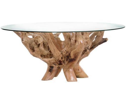 Stolik kawowy Rio, Nogi: drewno tekowe pochodzące , Blat: szkło, drewno tekowe, transparentny, Ø 110 x W 46 cm