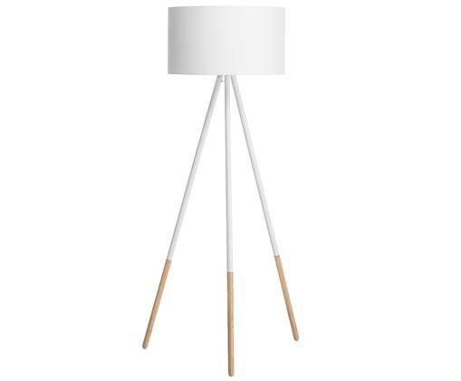Lampa podłogowa Ella, Rama: biały, odcienie drewna Klosz: biały