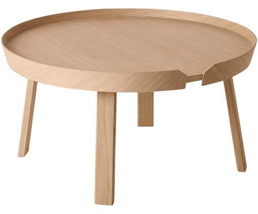 Tavolino da salotto di design Around Large, Legno di quercia, finitura naturale, Marrone, Ø 72 x Alt. 38 cm