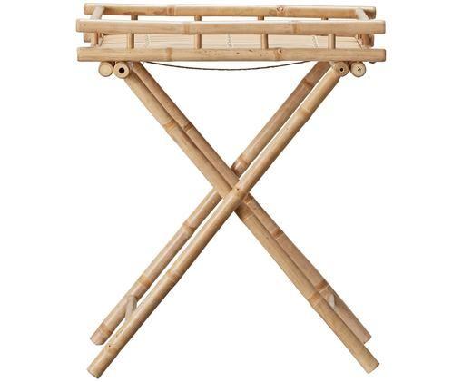 Bamboehouten outdoor bijzettafel Mandisa, Onbehandeld bamboehout, Bamboehoutkleurig, 60 x 68 cm