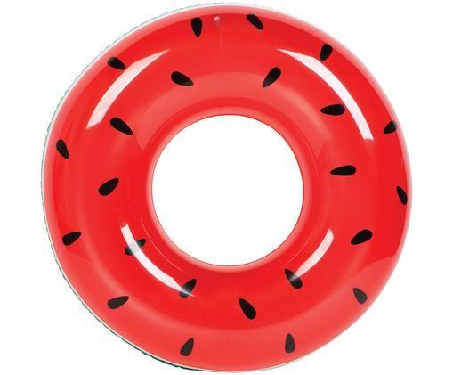 Opblaasbare zwemring Watermelon Donut, Kunststof (PVC), Rood, turquoise, Ø 112 cm