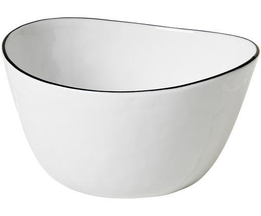 Ciotola fatta a mano Salt, Bianco incrinato Bordo: nero