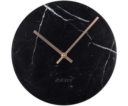 Wanduhr Marble Time, Schwarz, marmoriert