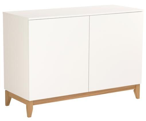 Weißes Sideboard Blanco mit Holzfüßen, Korpus: Spanplatte, melaminbeschi, Füße: Eichenholz, massiv, Weiß, Braun, 120 x 85 cm
