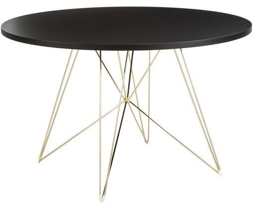 Tavolo da pranzo rotondo con gambe a cavalletto XZ3, Piano d'appoggio: fibra a media densità con, Gambe: filo di acciaio ottonato, Ottone, Ø 120 x Alt. 74 cm
