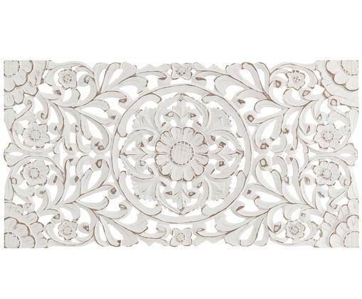 Handgemaakt decoratief wandobject Samira, MDF, Wit met antieke afwerking, 85 x 45 cm