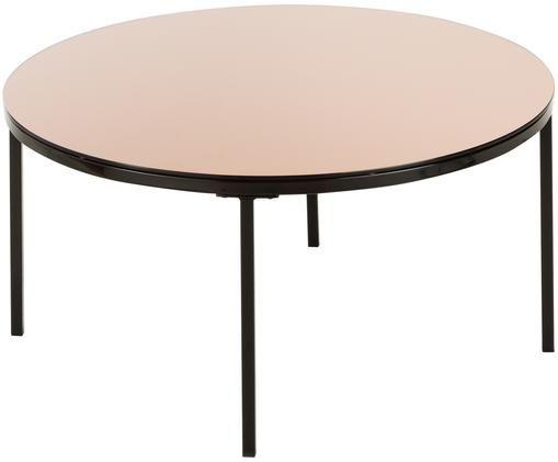 Tavolino da salotto Gina, Piano d'appoggio: marrone lucido Struttura: nero